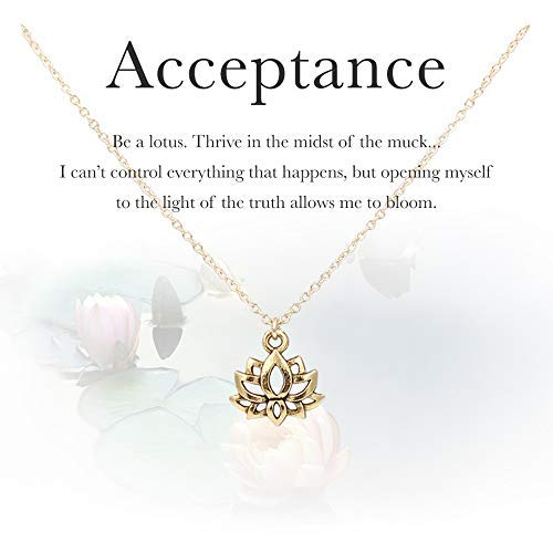 (MaeMae 14k Gold Lotus Necklace, 15mm Lotus Charm, 16