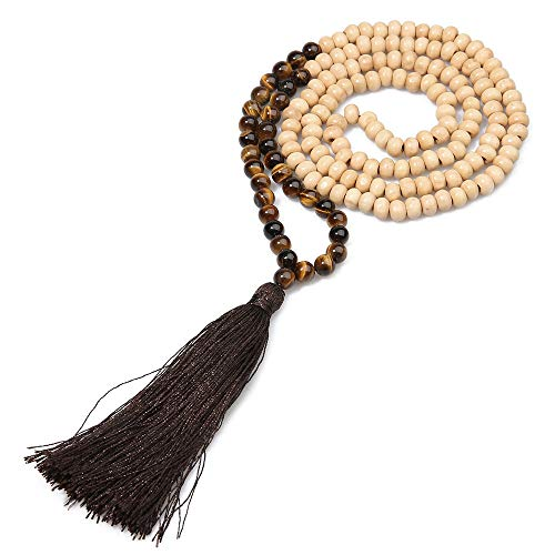 - BALIBALI 8MM Semi-Precious Gem Stones Wood Mala Bead Necklace Multicolor Tassel Charms Chain Necklace Handmade Beaded Pendant Necklace for Women Men (Wooden+Tiger Eye)