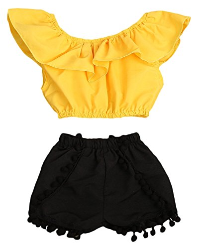 HappyMA Infant Toddler Baby Girls Outfit Short Sleeve Blouse Tube Top+High Waist Pom Pom Short Pants (12-18 Months) -