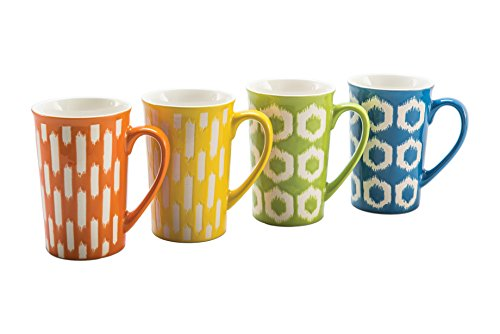 BIA Cordon Bleu 403206+A15S4SIOC Fashion Porcelain Ikat Mugs, Assorted - Bia Mug Cordon Bleu Dishwasher Safe
