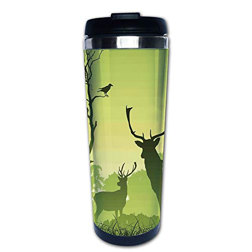 (Stainless Steel Insulated Coffee Travel Mug,Meadow with Trees and Crow Bird Woodland Mist Rural,Spill Proof Flip Lid Insulated Coffee cup Keeps Hot or Cold 13.6oz(400 ml) Customizable printing)