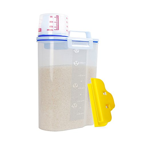 tainer Box, [Combo with Rice Bag Clip], Airtight With Pour Spout and A Measuring Cup, Portable Clear Dry Food Keeper Dishwasher Safe, Easy for Grain Oatmeal Cereal Flour Nuts, 2L (Rice 4.4 Lb Bag)