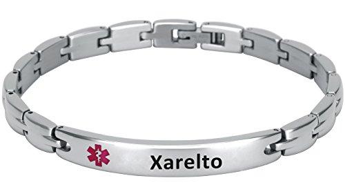 Elegant Surgical Grade Steel Medical Alert Id Bracelet For Men And Women  Womens  Xarelto