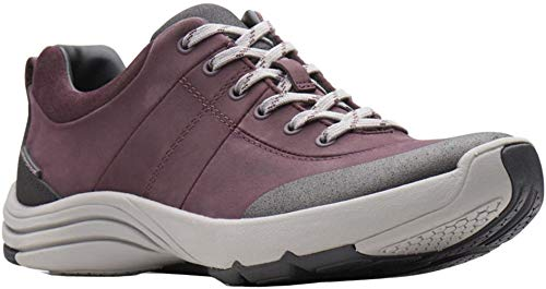 CLARKS Women's Wave Andes Sneaker, Aubergine Nubuck, 060 M US (Womens Clarks Wave)