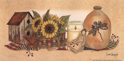Rows Sunflowers Aglow by Linda Spivey - 10x5 Inches - Art Print Poster