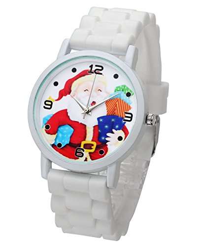 Top Plaza Cute Casual Father Christmas Analog Quartz Watch Santa Claus Pattern Silicone Band Arabic Numerals Wrist Watch for Kids Children #1(White) by Top Plaza