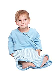 LETTAS Baby Boys and Girls 100% Cotton Stripe Removable Sleeve Sleeping Bag 0.5 Tog - Soft Wearable Blanket Blue (18-36 Months)