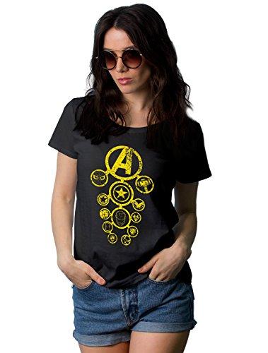 Womens Black Avengers Infinity War T Shirt for Women | Superhero All Logo, (Super Heroes Woman)