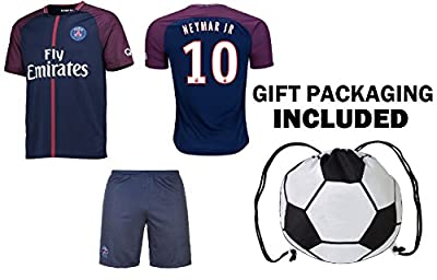 Fan Kitbag Neymar Jr #10 PSG Soccer Jersey & Shorts Paris Saint Germain Youth Kids Home / Away ? Premium Gift Set ? INCLUDED Soccer Ball Backpack