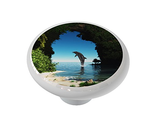Dolphin in a Hidden Cove High Gloss Ceramic Drawer Knob