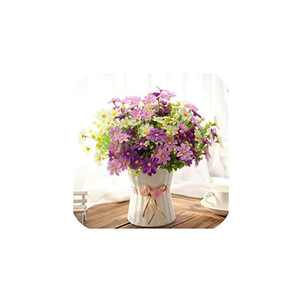 Bling-Bling Case One Set Small Daisy Artificial Flower Silk Sunflower with Rattan Vase Decoration for Home Room Table 13 Type,Purple Daisy
