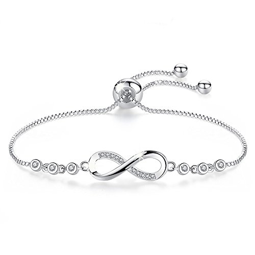 Endless Love Charm (Infinity Endless adjustable Love Symbol Charm White Gold Plated forever Charm Bracelet ,More Women Girls Prefer to Wear This Bracelet Everyday, Gift for Her Birthday Back to School Gift for Her Teache)