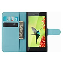 Fettion Blackberry Leap Case, Premium PU Leather Wallet Cases Flip Cover with Stand Card Holder for Blackberry Leap Smartphone (Wallet - Blue)