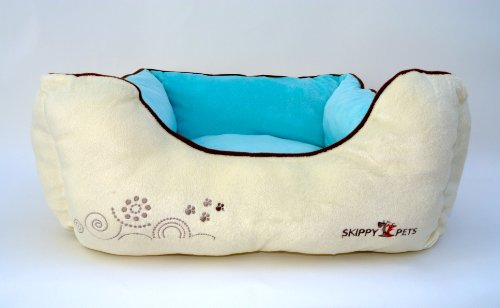 Overstuffed Dog Bed, Cream / Blue, Small (22″ x 19″ x 7″ in), My Pet Supplies