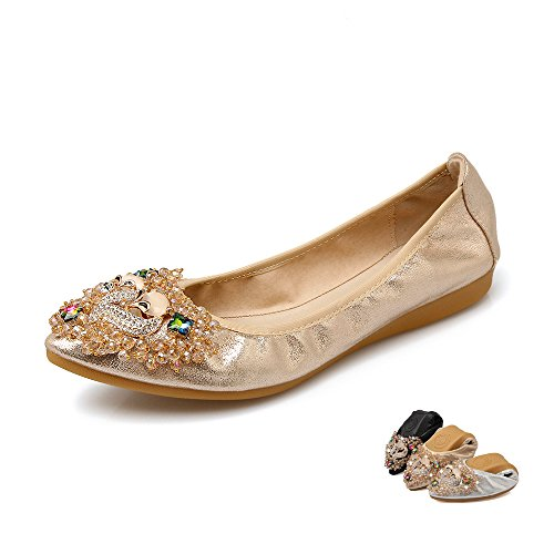 Meeshine Women's Solid Plaint Pointed Toe Comfort Soft Ballet Flats Shoes
