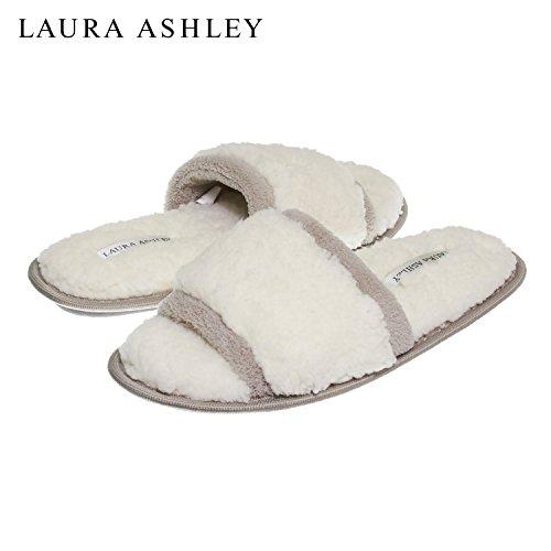 Laura Ashley Womens Ladies Luxury Spa Sherpa Una Band Con Pantofole In Memory Foam (vedi Più Colori E Taglie) Toast Di Segale