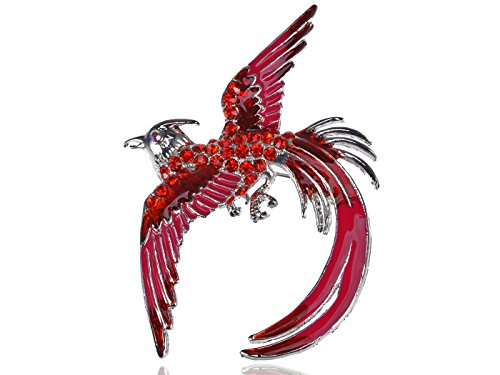 Alilang Silvery Tone Red Rhinestones Hot Pink Phoenix Bird Wings Feathers Brooch Pin