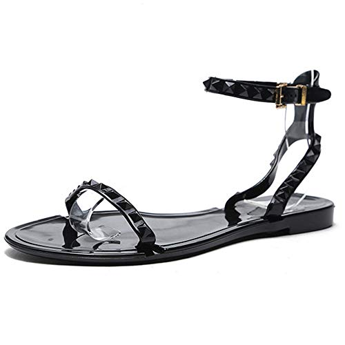 Yehopere Women Flat Sandals Ankle Strap Buckle Studded Jelly Shoes Outdoor Beach Sandals Black