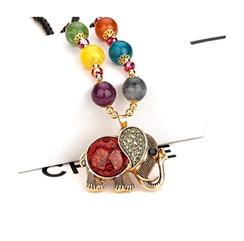 Price comparison product image Gorgeous Jewelry Wine Red Gemstone Studded Elephant Alloy Pendant Fashion Charming Color Beaded Necklace
