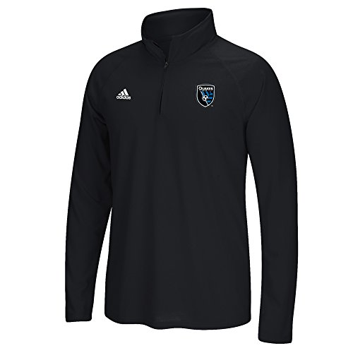 fan products of adidas MLS San Jose Earthquakes Men's Left Chest Long Sleeve Screen Print Tee, Heathered Black, Medium
