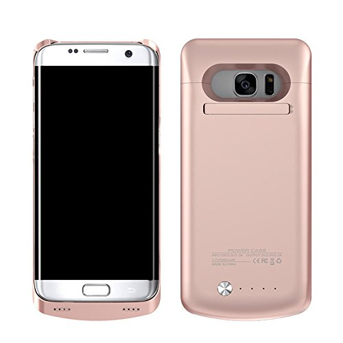 Galaxy S7 Edge Battery Case Wireless Charging - BIGFOX 5200mAh Slim External Battery Case,Protective Power Bank Charger Case Cover with Kickstand for Samsung Galaxy S7 Edge (Rose Gold)