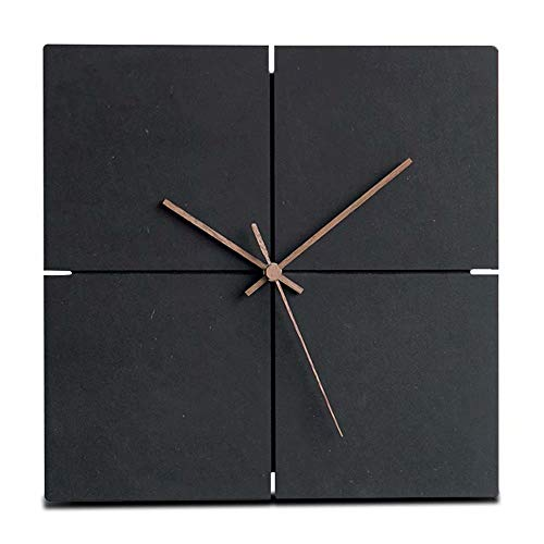 FlorLife Large Giant Wall Clocks Wooden Hanging Clock Square Wood Wall Clock Silent Non-Ticking Room Office Simple Modern Design Home Decor Black by FlorLife
