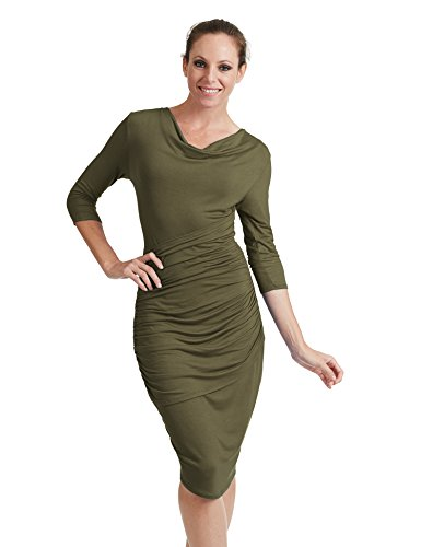 Ctc Womens Profond Col V Manches 3/4 Robe Moulante Tulipe - Made In Usa Wdr1185_olive