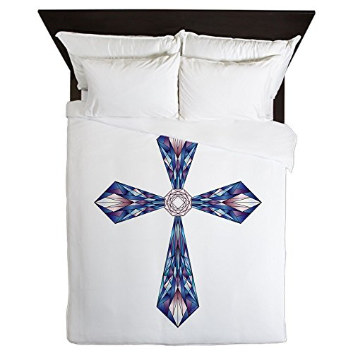 Queen Duvet Cover Stained Glass Cross by Truly Teague