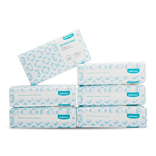 Skin Tissue - Winner Soft Dry Wipe, Made of Cotton Only, 600 Count Unscented Cotton Tissues for Sensitive Skin