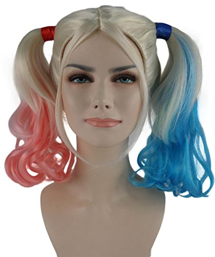 [Super Female Villain Pink & Blue Double Ponytail Costume Wig BAHW-141] (Easy Movie Inspired Costumes)