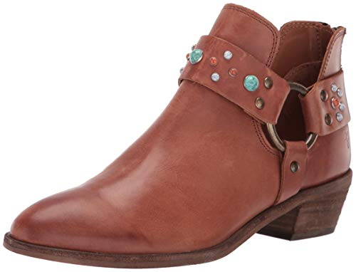- FRYE Women's RAY Stone Harness Back Zip Ankle Boot Cognac 8.5 M US