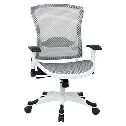 SPACE Seating Breathable Mesh Seat and Back, 2-to-1 Synchro Tilt Control, 2-Way Adjustable Flip Arms, and White Coated Nylon Base Managers Chair, White (Deluxe Synchro Tilt Mesh)