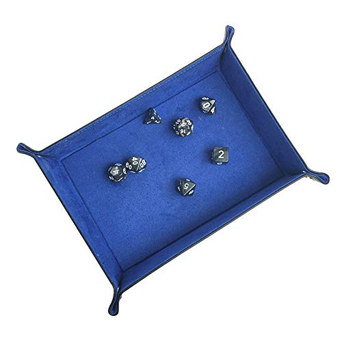 LETFBR Blue Rectangular Dice Game Tray,Pu-Leather Office