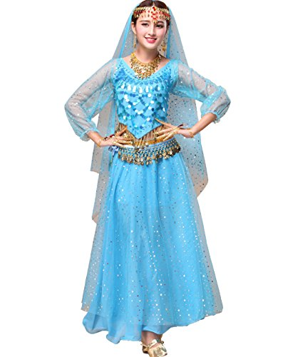 Astage Women`s Professional Belly Dance Costume,Long Sleeve Tops With Skirt Sky Blue,All Accessories from Astage