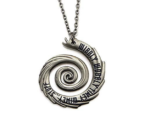 Inspired by Doctor Who Wibbly Wobbly Timey Wimey Stuff Pendant Necklace Whovian Jewelry Silver