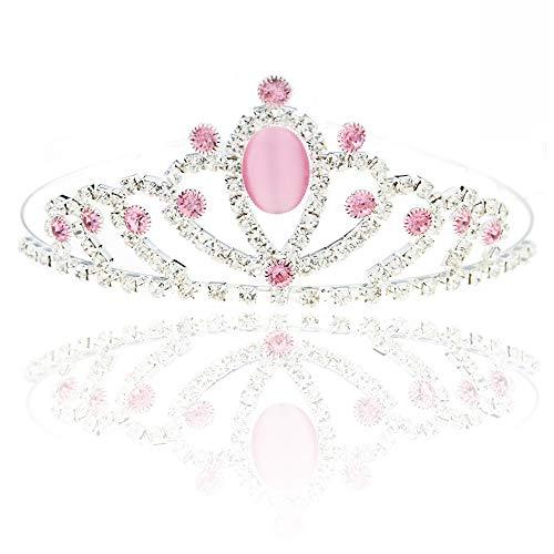 SHINYTIME Crystal Headband Sliver Rhinestone Crown Pink Headpiece for Wedding Bridal Birthday Christmas Decoration