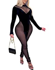 Uni ClauWomen One Piece Outfits Mesh Sheer Bodycon Jumpsuit Long Sleeve See Through Party Jumpsuits