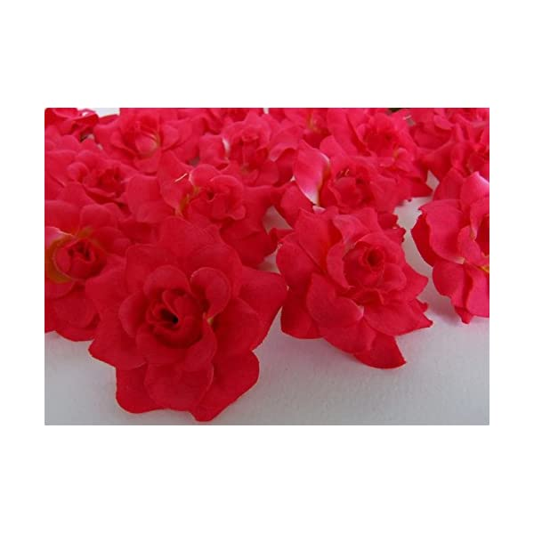 ICRAFY 24 Silk Dark Pink Roses Flower Head – 1.75″ – Artificial Flowers Heads Fabric Floral Supplies for Wedding Flowers Accessories DIY Make Bridal Hair Clips Headbands by You.