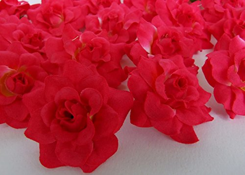 24 Silk Dark Pink Roses Flower Head - 1.75