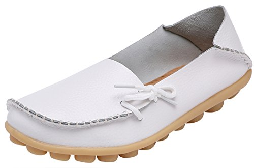 Serene Womens White Leather Cowhide Casual Lace up Flat Driving Shoes Boat Slip-On Loafers - Size 7.5