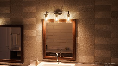 Luxury Vintage Bathroom Vanity Light, Medium Size: 10''H x 23''W, with Antique Style Elements, Elegant Estate Bronze Finish and Seeded Glass, Includes Edison Bulbs, UQL2272 by Urban Ambiance by Urban Ambiance (Image #1)