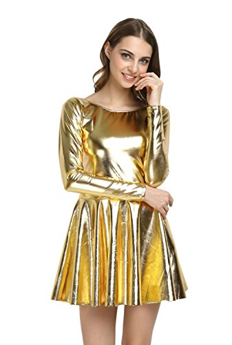WOLF UNITARD Shiny Wet Look Dress Cosplay Costumes XX-Large (Gold Costume Dress)