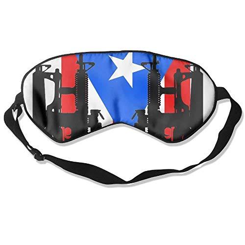 Adult Children Unisex Puerto Rico Flag Gun Pattern Eyeshade Sleep Mask Eye Mask