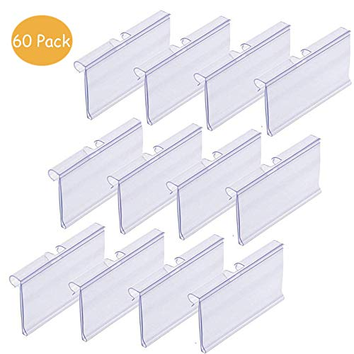 60 PCS Clear Plastic Label Holder Wire Shelf Retail Price Tag Label Card Merchandise Sign Display Holder ChierLyn (6cm x - Holders Label Card