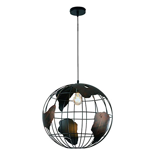 Ganeep Nordic Modern Globe Round E27 Pendant Ceiling Lights Creative Macaron Wrought Iron Single Head Chandelier Restaurant Kitchen Bar Home Decoration Hanging Lights (Color : Black) - Iron Pewter Chandelier