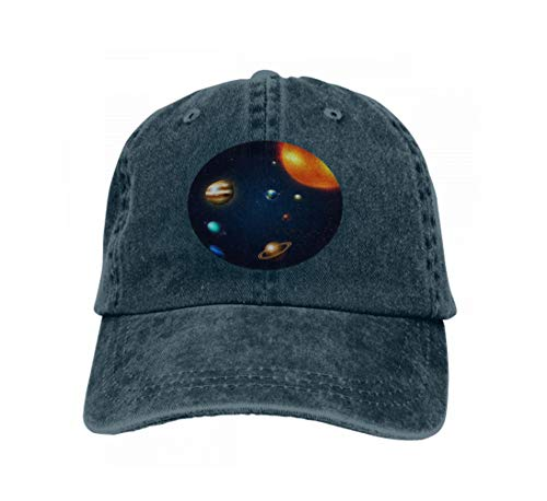 (Unisex Flat Bill Hip Hop Cap Baseball Hat Head-Wear Cotton Trucker Hats Planets Solar System Milky Way Space Astronomy Infinite univ Navy)