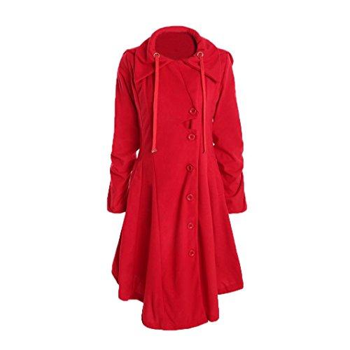 Internet Rojo Abrigo Largo lana irregular de Abrigo Chaqueta Warm Invierno parka grueso Coat Outwear de mujer Slim rwaYrpxvq