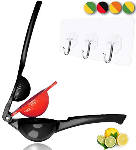 Yimobra Manual Lemon Squeezer,Hand Citrus Lime Juicer Press Premium Quality Professional Kitchen Tool Black (Presented Wall Hooks 3 Pack) by Yimobra