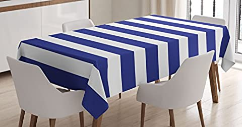 Striped Tablecloth by Ambesonne, Nautical Marine Style Navy Blue and White Stripes Sailor Theme Geometric Pattern, Dining Room Kitchen Rectangular Table Cover, 60 X 84 Inches, White Navy (Blue Theme Room)
