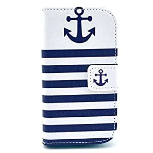 JJE sold out Striped Anchor Pattern PU Leather Case with Card Slot and Stand for Samsung Galaxy S3 mini I8190